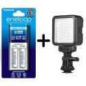 Panasonic Eneloop Basic charger AA battery 2000mah kit set with Proocam W49S Led light