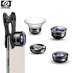 Apexel 5 in 1 Phone Camera Lens Kit Professional HD Fisheye Super Wide Angle Macro Lens (APL-HD5 )