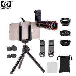 Apexel 4in1 Camera Lens Kit (telescope, fisheye,Wide Angle,Macro, Mini Tripod&Phone Holder) for mobile phone (APL-HS12XDG3ZJ)