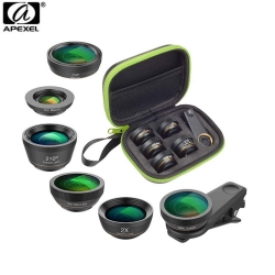 Apexel APL-DG6 6 IN 1 Smartphone Lens Kit for Smartphone Iphone, Samsung, Huawei, Oppo