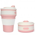 Delly 350ML Collapsible Silicone Foldable Coffee Cup Reusable Mug Leak Proof For Travel Pink CSF-35P
