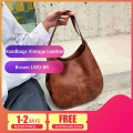 Delly New Luxury Women Bags Designers Handbags Vintage Leather Handbag Ladies Hand Bag Sling Bag Brown LWD-BR