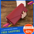 Delly Women Purse Fashion Korean Leather Wallet Long style Purse Zip Card coin Holder – Red LWP-RD