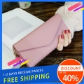 Delly Women Purse Fashion Korean Leather Wallet Long style Purse Zip Card coin Holder – Light Pink LWP-LPK
