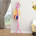 Delly Solid Metal Coat Hat Clothing Display Stand Rack Assembled Living Room Multi Hooks Hanging Clothes Pink HCD-039P