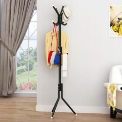 Delly Solid Metal Coat Hat Clothing Display Stand Rack Assembled Living Room Multi Hooks Hanging Clothes Black HCD-039BK