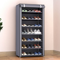 Delly 8 Layers Shoes Cabinet Shoe Rack Fabric Furniture Home Organizer Ins Minimalist Gray LSC-08GR