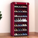 Delly 8 Layers Shoes Cabinet Shoe Rack Fabric Furniture Home Organizer Ins Minimalist RED LSC-08RD