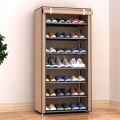 Delly 8 Layers Shoes Cabinet Shoe Rack Fabric Furniture Home Organizer Ins Minimalist Brown LSC-08BR