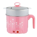 Delly 2 Layers Multi Function Heater Steamer Mini Cooker 1.8L Stainless Steel  -Pink SSFH-P
