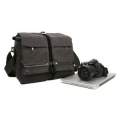 RUSH R6713 Canvas DSLR Camera Bag Shoulder Laptop Messenger Bag - Grey