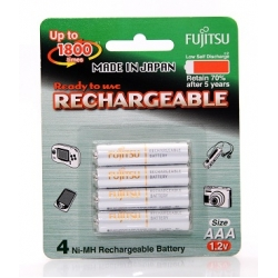 Fujitsu Rechargeable AAA Ready to use Battery 800mah (Min 750mah) 4pcs Pack HR-4UTAEX(4B)