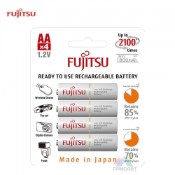 Fujitsu Rechargeable AA Ready to use Battery 2000mah (2100 cycle) 4pcs Pack (HR-3UTCEX(4B)