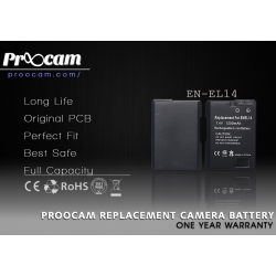 Proocam Nikon EN-EL14 Compatible Battery for Nikon D3100, D5100 DSLR AND COOLPIX P7000