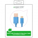 UGREEN 2.0A High Speed SYNC Micro USB cable 24k Gold-plated 0.5meter US125 10869- Blue