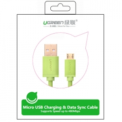 UGREEN 2.0A High Speed SYNC Micro USB cable 24k Gold-plated 0.5meter US125 10875- Green