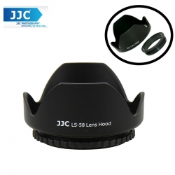 JJC LS-58 (58mm) Universal flower Screw-in Lens Hood for Standard Zoom Lens (Reverse Mount Possible)