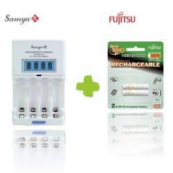 Samya Rapid 4 Charger TS-2800EUF with Fujitsu Rechargeable AAA 800mah 2pcs 1Pack Battery
