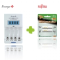 Samya Rapid 4 Charger TS-2800EUF with Fujitsu Rechargeable AA 2000mah 2pcs 1Pack Battery