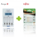 Samya Rapid 4 Charger TS-2800EUF with Fujitsu Rechargeable AAA 800mah 4pcs 1Pack Battery