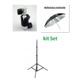 Prootech  Flash Ballhead and  Umbrella with Stand Set