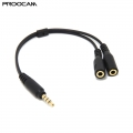Proocam CC-SP1 Adapter 3.5mm TRRS Jack Cellphone to Microphone and Headphone Convertor Cable