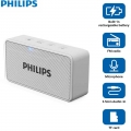 Philips BT64W Portable Bluetooth Speakers with FM radio (WHITE) Connect with Smartphone Laptop