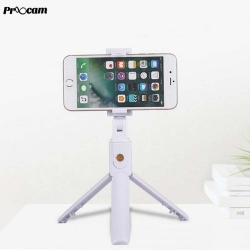 Proocam K07 2in1 Selfie Stick Foldable Monopod, Tripod with Bluetooth for Smartphone-White