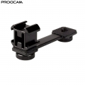 PROOCAM PT-1 Triple Cold Shoe Mount Extension Bracket Microphone Light Plate Adapter for Zhiyun Smooth 4 Feiyu Vimble 2
