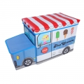 Delly Ice Cream Truck Toys Organizer for Kids Clothes Box Folding Cartoon Car -Blue BST-B