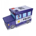 Delly Police Black Organizer for Kids Clothes Box Folding Cartoon Car -Blue BST-W