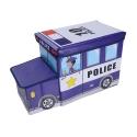 Delly Police Black Organizer for Kids Clothes Box Folding Cartoon Car -Blue BST-W