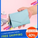 Delly Women Purse Fashion Korean Leather Wallet Short style Purse Zip Card coin Holder – Light Blue SWP-LBR