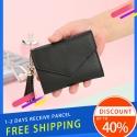 Delly Women Purse Fashion Korean Leather Wallet Short style Purse Zip Card coin Holder – Black SWP-BK