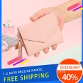 Delly Women Purse Fashion Korean Leather Wallet Short style Purse Zip Card coin Holder – light Pink SWP-LPK