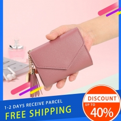 Delly Women Purse Fashion Korean Leather Wallet Short style Purse Zip Card coin Holder – Pink SWP-PK