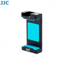 JJC SPC-A Blue Smart Phone holder 56-105mm Clip with Hot Shoe Led Light