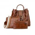 Delly 3 in 1 Fashion Women Leather Handbag wallet pouch Ladies Shoulder bag LHW-3B Brown