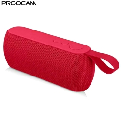 PROOCAM Q106-RED Wireless Portable Bluetooth Speaker Stereo Compatible TF Card FM Radio AUX Input Outdoor RED